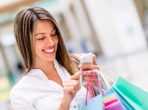Shopper on phone