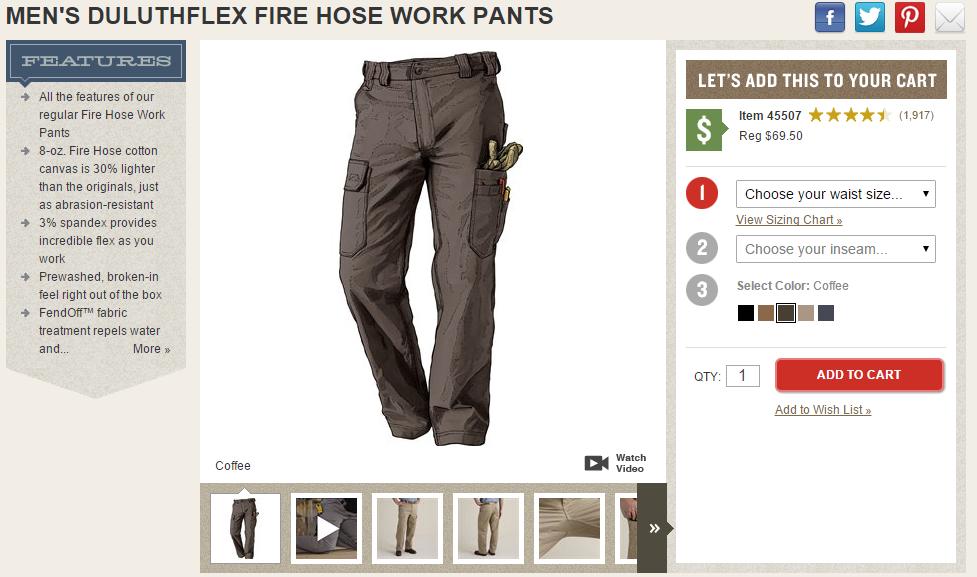 apparel merchandising pant size color