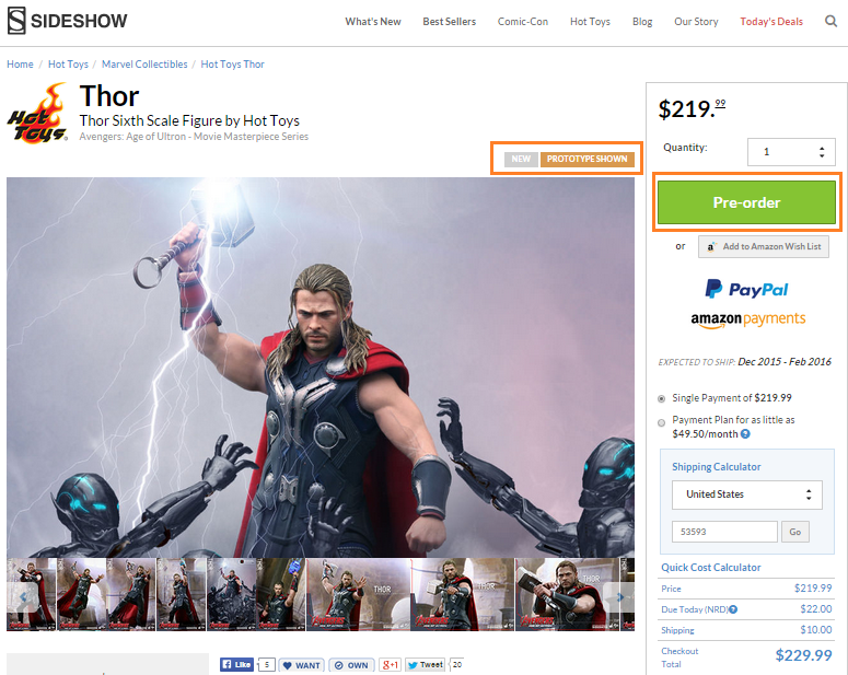 sideshow thor preorder